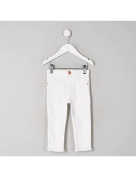 Mini Girls White Molly Jeggings by River Island