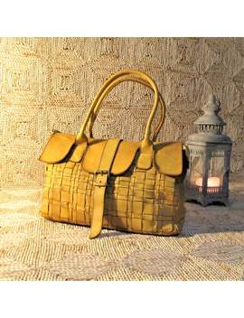 Handcrafted Woven Birkin Yellow Soft Vintage Leather Bag by Etsy