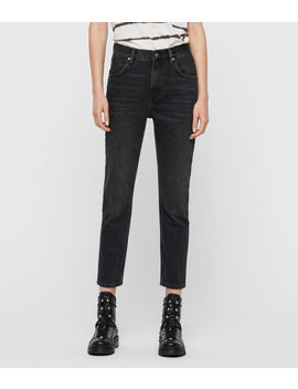 Brooke High Rise Straight Jeans, Washed Black by Allsaints