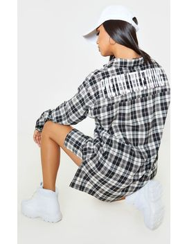 Prettylittlething Black Slogan Checked Shirt Dress by Prettylittlething