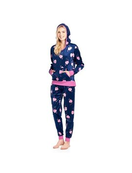 Ashford & Brooks Women's Mink Fleece Hoodie Pajama Set   Navy Pink Flamingo   4 X Large by Ashford & Brooks