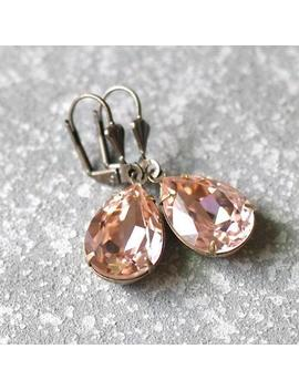 Blush Bridesmaid Blush Wedding Hint Of Pink Vintage Rose Stud Earrings Swarovski Crystal Rose Gold Pear Tear Drop Earrings Wedd by Etsy