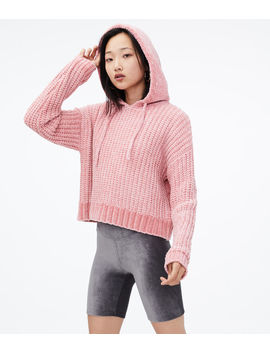 Chenille Hooded Cropped Sweater by Aeropostale