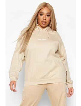 Plus Self Love Slogan Hoodie by Boohoo