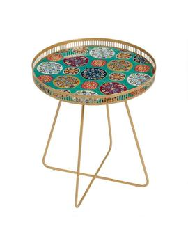 Large Round Gold Metal Floral Tray Table by World Market