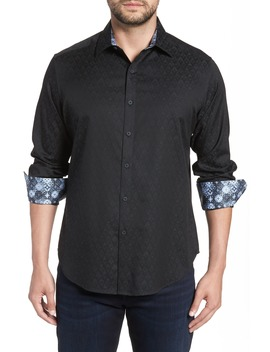 Classic Fit Stretch Geometric Sport Shirt by Robert Graham