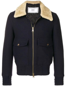 Shearling Trimmed Aviator Jacket by Ami Paris