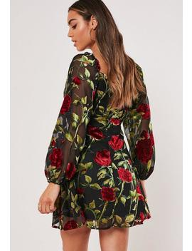 Black Floral Devore Milkmaid Skater Dress by Missguided