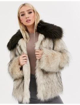 Asos Design Faux Fur Contrast Collared Coat In Brown by Asos Design