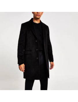Black Shawl Collar Overcoat by River Island