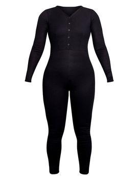 Plus Black Rib Popper Detail Long Sleeve Jumpsuit  by Prettylittlething