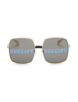 60 Mm Guccify Unisex Square Sunglasses by Gucci