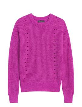 Cropped Pointelle Knit Sweater by Banana Repbulic