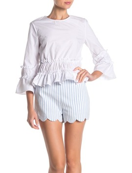 Ruffled 3/4 Length Sleeve Top by English Factory