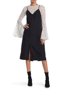 Daisy Sketch Bell Sleeve Combo Dress by English Factory