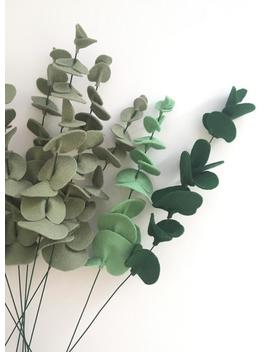 True Blue Eucalyptus Stem   Felt Bouquet   Eucalyptus Decor   Greenery by Etsy