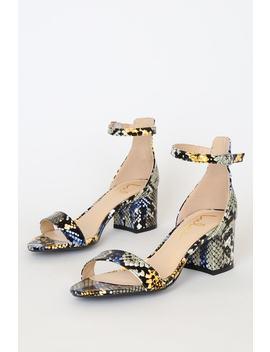 Harper Blue Grey Snake Embossed Ankle Strap Heels by Lulus