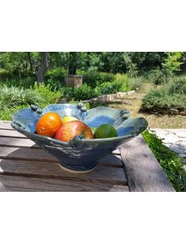 Ceramic Scroll Bowl / Serving Dish / Salad Bowl / Fruit Bowl With Blue And Green Glazes, Handmade By Jason Hooper Pottery by Etsy