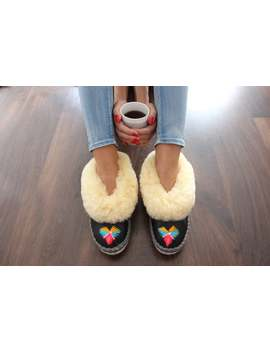 Sheepskin Slippers Fur Winter Boots Warm Moccasins Gift For Women Warm Slippers Leather Slippers Fur Boots Shearling Slippers Christmas Gift by Etsy