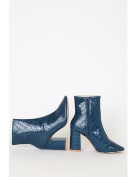 My Generation Navy Crocodile High Heel Mid Calf Boots by Lulu's