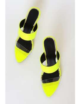 Massina Neon Yellow Patent High Heel Sandals by Lulu's