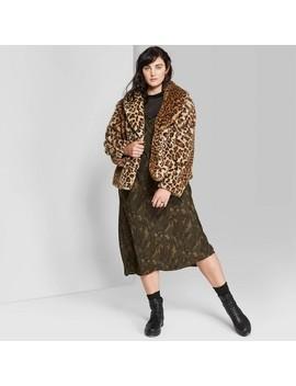 Women's Plus Size Leopard Print Long Sleeve Short Faux Fur Coat   Wild Fable™ Gognac by Wild Fable