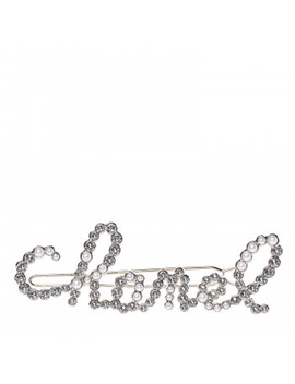 Chanel Metal Glass Swirling Pearls Hair Clip Gold by Chanel