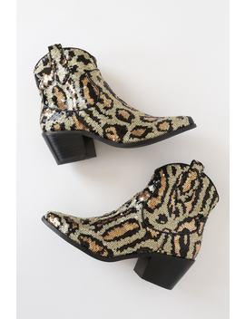 Lucki Leopard Sequin Pointed Toe Ankle Booties by Betsey Johnson