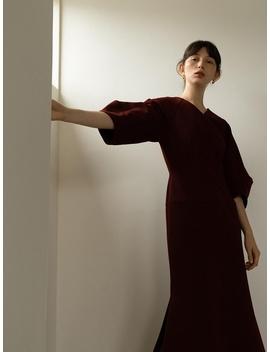 Rowe Volume Sleeved Dress Burgundy by Rowe