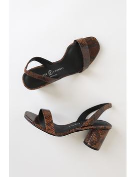 Yumi Whiskey Wine Snake High Heel Sandals by Chinese Laundry