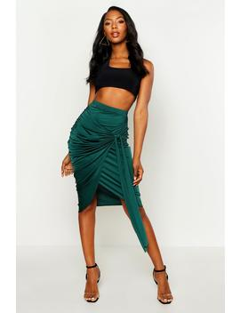 Slinky Wrap Tie Ruched Midi Skirt by Boohoo