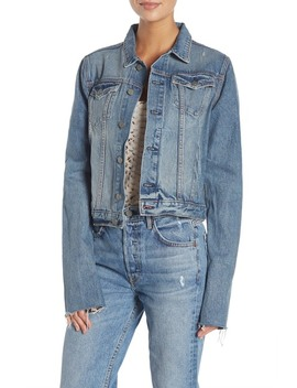 Bianca Stripe Cuff Denim Jacket by Grlfrnd