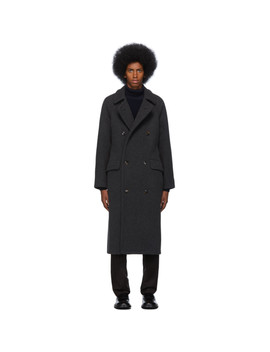 Grey Cashmere Oversized Belted Coat by Giorgio Armani