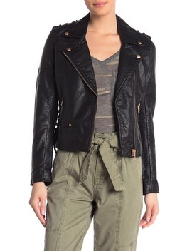 Lace Up Faux Leather Moto Jacket by Blanknyc Denim