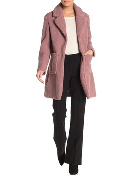 Faux Shearling Teddy Notch Collar Coat by French Connection