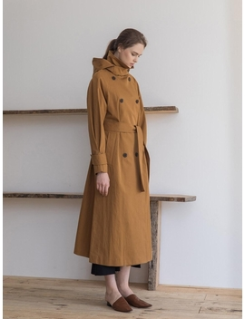 Hoodie Long Trench Coat Deep Mustard by Refined902
