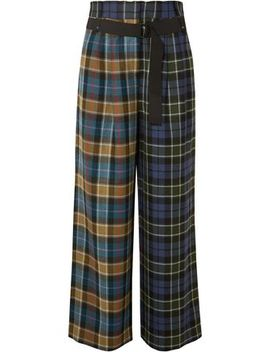 Checked Wool Wide Leg Pants by Tibi