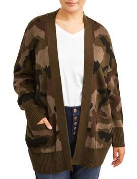 Women's Plus Size Open Front Pack Pocket Camoflauge Jacquard Cardigan by Alison Andrews