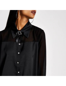 Petite Black Diamante Bow Collar Shirt by River Island