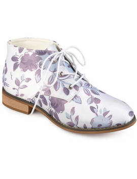 Brinley Co. Women's Faux Leather Stacked Wood Heel Lace Up Print Booties by Brinley Co.