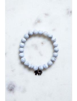 Blue Lace Agate Bead & Elephant Charm Bracelet by Ivory Ella
