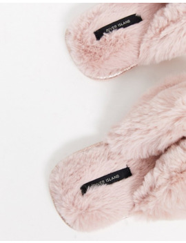 River Island Toe Post Slipper With Diamante Detail In Pink by River Island