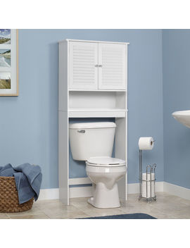 Gymax Bathroom Space Saver Over The Toilet Shelved Storage Cabinet Organizer White by Gymax