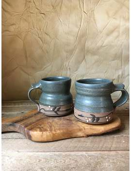 Pottery Mugs In Pewter Blue by Etsy