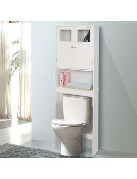Ktaxon Bathroom Over Toilet Space Saver, Wall Mounted Standing Double Door Storage Cabinet Tower With Adjustable Shelf White by Fch