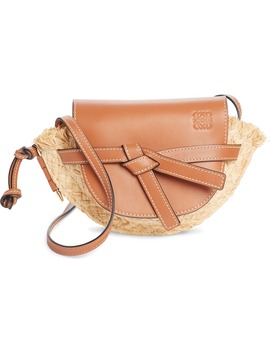 Gate Mini Leather & Raffia Crossbody Bag by Loewe