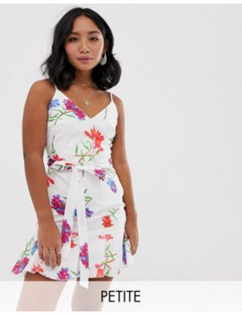 Parisian Petite Cami Strap Dress With Tie Waist In White Floral by Asos