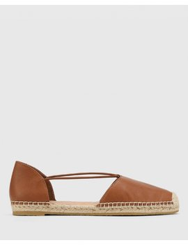 Elgin Dark Cognac Leather Espadrille Flat by Wittner