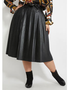 Pleated Faux Leather Skirt by Ashley Stewart