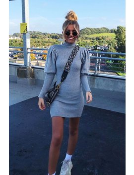 Grey High Neck Balloon Sleeve Knitted Dress   Ginna by Rebellious Fashion